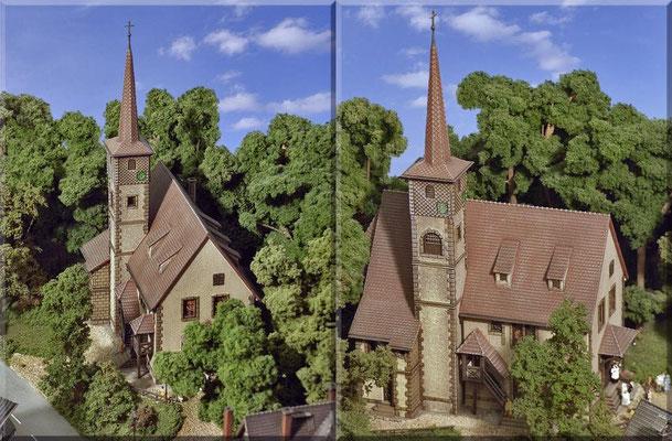 Die Bäume in der Umgebung der Kirche entstanden aus Naturmaterialien, wie kleinen Ästen und Wurzelstücken und wurden mit Woodland-Clump-Foliage beklebt (siehe auch Tipps & Tricks). Fertig gekaufte Laubbäume gibt es übrigens gar keine auf der Anlage.