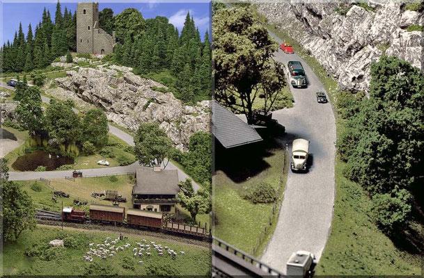 Links: Überblick über Bauernhof, Badesee, Bergstrasse u. Ruine. Die grasende Schafherde mit Schäfer und Hunden, lässt sich von der Köf nicht stören. Rechts: Die Bergstrasse, von der Stahlbogenbrücke gesehen.