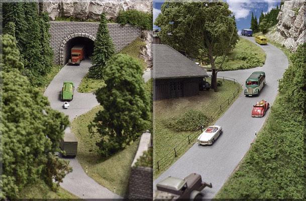 """Linke Seite: Die Zufahrt zum Straßentunnel, der durch den """"Großen Burgberg"""" führt. Rechte Seite: Die Bergstraße bis zum Horizont/Anlagen-Abschluss. Autos: Die 3 MB-Lastwagen sind verbesserte Wiking-Modelle, alle anderen Fahrzeuge habe ich von Marks."""