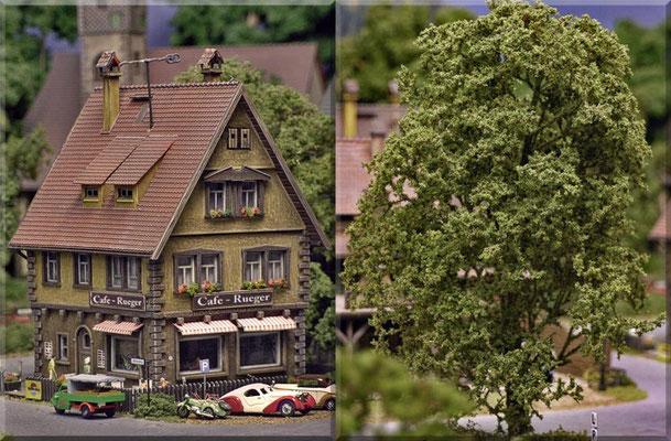 """Das allseits beliebte """"Cafe-Rueger"""" noch einmal aus einem anderen Blickwinkel. Außerdem: Eine Großaufnahme eines weiteren """"Eigenbau-Baumes"""". Der """"Gemüse-Sepp"""" (Goliath-Dreirad) liefert auch an das Bistro/Cafe."""