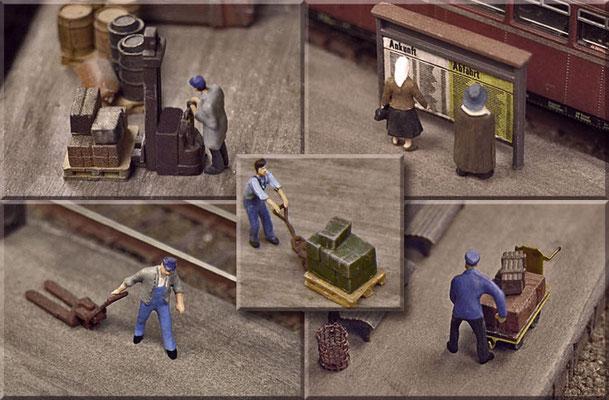"""Bahnsteig-Details. Man kann viel Geld sparen, wenn man die günstigen, unbemalten Figurensets kauft und selber bemalt. Gute Augen und eine ruhige Hand, sowie etwas Geduld sollte man aber schon mitbringen. Die """"Preiserlein"""" sind nur ca. 10-12 mm groß."""