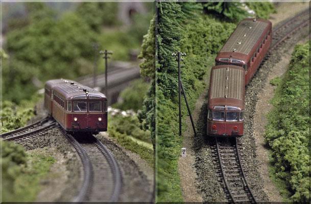 """Der Schienenbus (VT 95) beim Durchfahren der Kehrschleife am Fuße des """"Kleinen Burgbergs"""". Kilometerstein: Paul Petau - Telegrafenmast: Weinert."""