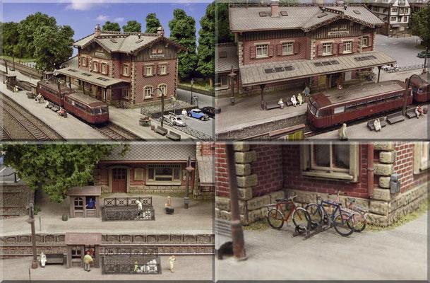 """Diverse Bahnsteig-Szenen rund um das Empfangsgebäude. Die Bahnsteige sind im Eigenbau aus """"Moltofill"""" entstanden. Die Bahnsteigkanten bestehen aus geprägtem """"Heki-dur"""". Papierkörbe: Eigenbau aus """"Faller-Industriezaun"""". Fahrräder und Ständer: D.Beier."""