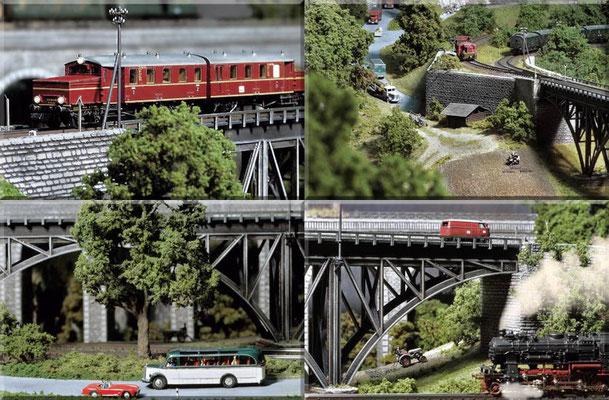 """Verschiedene Details rund um die Bogenbrücke. Bild 1: Am Brückenanfang zeigt die Spitze der Schneepflugtafel nach oben, was bedeutet: """"Schneepflug anheben""""!    Bild 4: Zweimal Diesel, einmal Dampf."""