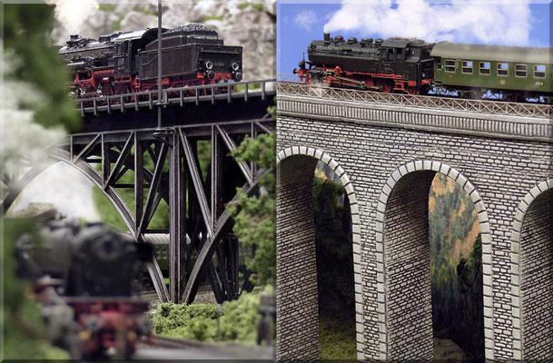 Close-ups von den Brückenpfeilern. Der Steinbogen-Viadukt wurde aus Sperrholz gefertigt, mit Heki-dur-Platten verkleidet und anschließend bemalt. Heki-dur ist prima für Kunstbauten aller Art, sowie für Eigenbauten von Burgen und Schlössern geeignet.