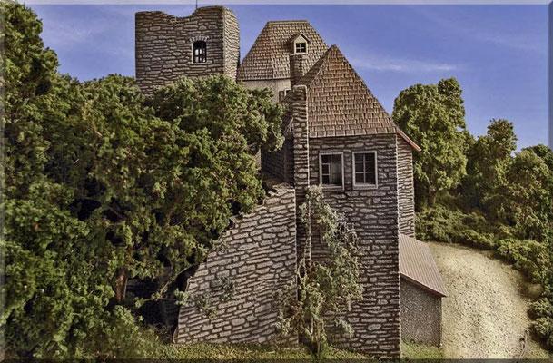 Die Pola-Burg von der Seite. Der Burghof und die hinteren Gebäudeteile sind verfallen und fast völlig zugewachsen, während sich Hauptgebäude und Turm in tadellosem Zustand befinden und bewohnt (Burgherr), sowie zum Teil für Touristen zugänglich sind.