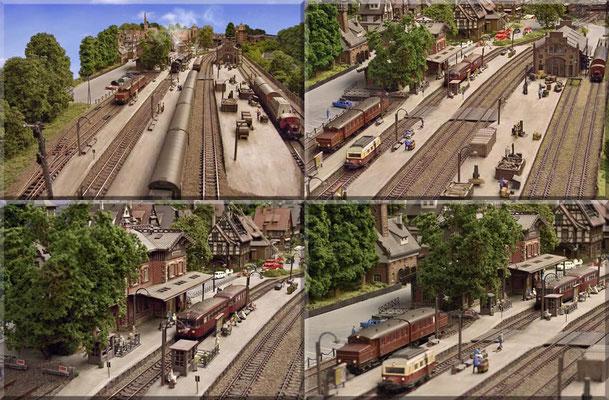 Bahnhofs-Impressionen. Auf diesen Fotos kann man gut erkennen, dass Bahnsteige u. Gleise nicht gerade, sondern in leichtem Bogen verlegt sind, was dem Gesamtbild eine gewisse Dynamik verleiht. Mit handelsüblichen Bahnsteigen ist das nicht möglich.