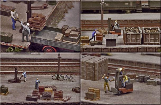 """Noch mehr Details vom lebhaften Güterumschlag in Waldbronn. Die Fahrräder sind diesmal Bausätze von Mayerhofer. Der Gabelstapler ist ein verfeinertes """"Faller-Modell"""". Die """"Von-Haus-zu-Haus-Behälter"""" sind von Arnold."""