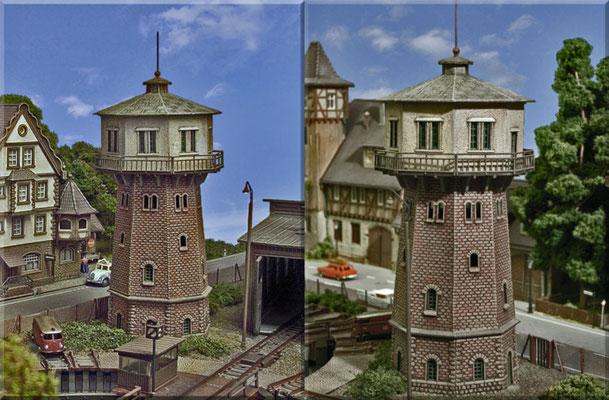 Der schöne Wasserturm von Pola aus verschiedenen Blickrichtungen. Auch dieses Bausatz-Modell gewinnt durch die Bemalung - erheblich - an Vorbildnähe. Erst durch die farbliche Betonung der Mauerfugen kommt das Ziegelmauerwerk richtig zur Geltung.