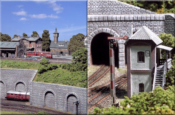 a: Blick von der zweigleisigen Hauptbahn hinauf zum Nebenbahn-Endbahnhof. b: Blockstelle 21/HP 0. (Pola-Modell) - Signal: Brawa.