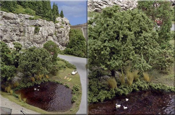"""Zwei weitere Bilder vom kleinen Badesee, der bei den Waldbronnern recht beliebt ist. Die Schwanenfamilie stammt von Marks Metallmodellclassic´s. Die Baumrinde an Stamm und Ästen entstand mit der """"Sandmethode"""" - siehe auch """"Tipps & Tricks""""."""
