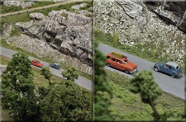"""Der Ford 17 M besitzt (im Modell) einen aus Neusilber geätzten Dachgepäckträger (mit Kiste und Leiter) und eine zu öffnende Heckklappe. Schon wieder ein """"fast-Cabriolet"""" zum Schnäppchen-Preis: Der Citroen 2CV mit Rolldach (Baujahr 1954). Alles Marks."""