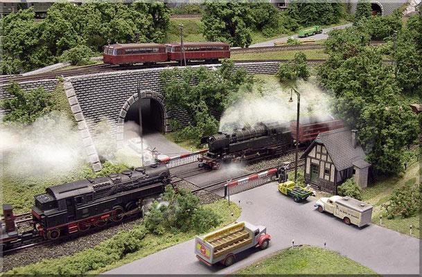 BR 95 (Arnold) und BR 65 (Fleischmann) begegnen sich auf dem Bahnübergang. Beide haben einen schweren Güterzug am Haken. Auf der höher gelegenen Nebenstrecke - der VT 95.  Autos: Marks  -  Schneepflug-Tafeln: Paul Petau - Holzmast-Lampen: Weinert.