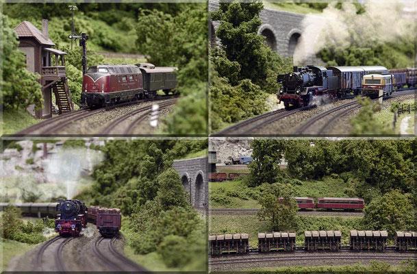 """Einige Aufnahmen, die den abwechslungsreichen Fahrbetrieb auf der Anlage verdeutlichen. BR 23: Fleischmann *  Muldenkippwagen (Ommi 51): Roco * VT 89901- """"Schweineschnäuzchen"""": Arnold"""