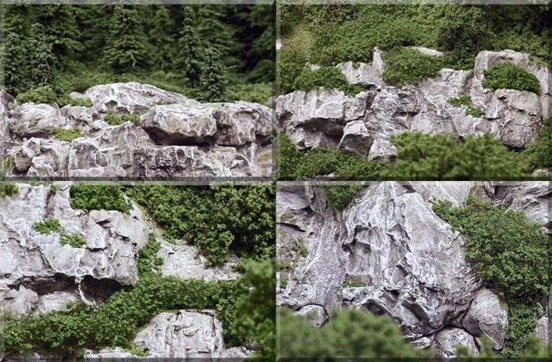 """Die Felsstruktur entstand zum Teil aus Gipsabgüssen von """"Woodland-Scenics - Rock Molds"""" (Silikon-Felsformen), der Rest wurde zuerst mit Moltofill (Spachtelmasse) grob vorgeformt und dann mit Schraubendreher, Stechbeitel und Drahtbürste strukturiert."""