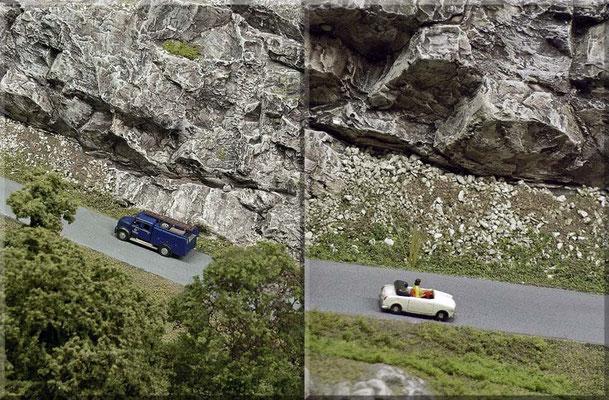 """Der Magirus Rundhauber/THW (Wiking) und das Goggomobil Cabrio (Marks) auf der Strasse zum """"Kleinen Burgberg"""". Auch in den 50ern gab es erschwingliche Cabriolets. Das fast baugleiche Coupé bezeichnete man übrigens als """"Ferrari des kleinen Mannes""""!"""