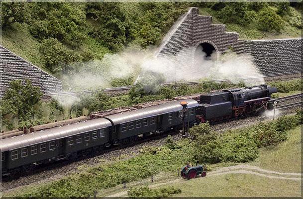 Die Personenzug-Schlepptender-Dampflok Baureihe 23105 mit einem Eilzug aus Mitteleinstiegs-Umbauwagen. Dahinter ein gemischter Holztransport. BR 23: Fleischmann - Umbauwagen: Roco.