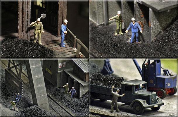 Verschiedene Betriebs-Szenarien rund um die Kohlemine. Die Gebäudemodelle sind Bausätze von Pola. Der Mercedes-Pritschen-Lkw ist ein getuntes Wiking-Modell. Der filigrane Fuchs-Bagger kommt natürlich von Marks. Kohlen: gefärbter Sand; Gleis: Arnold.