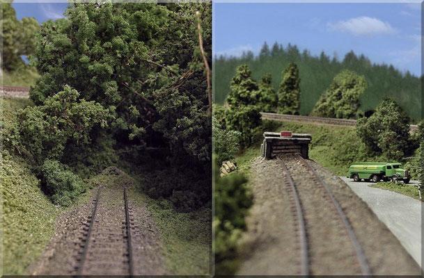 Die beiden Stumpfgleise des Steinbruchs. Links: das untere Gleis (hier ist das Gleisende lediglich durch einen Schotterhaufen begrenzt). Rechts: das obere Gleis (mit einem Selbstbau-Prellbock aus Streichhölzern und Heki-dur) - Schild: von Paul Petau.