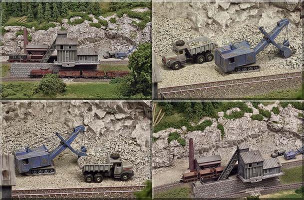 """Verschiedene Ansichten des schönen Arnold-Bausatzes und der Ladeszenen im Steinbruch - mit dem Menck-Bagger von Marks. Der Fabrikschlot ist allerdings nicht der originale des Bausatzes, sondern der Schlot der """"Förderanlage - Königsgrube"""" von Faller."""