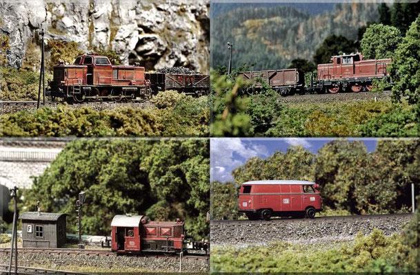 Oben links: die V  65 (Arnold) und rechts: die V 60 (Minitrix) - beide mit einem Kohlenzug unterwegs. Unten-links: Köf II (Arnold) an einer Fernsprech-Bude (Bude und Sperrsignal: gesuperte Arnold -Modelle). Unten-rechts: KLV 20 (Marks-Kleinkunst).