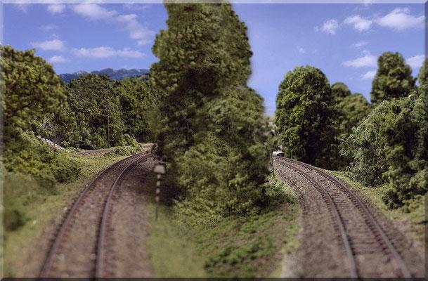 Links: Das Industrie-Gleis, das vom Steinbruch zum Endbahnhof führt. Rechts: Die gleiche Strecke, nur diesmal aus der Gegenrichtung fotografiert.