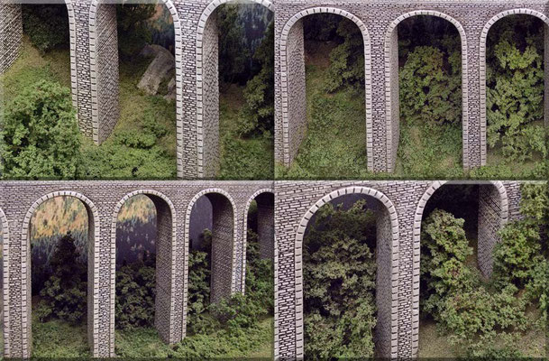 So sieht´s tief drunten im Tal, unter dem Viadukt aus. Landschaftsmaterial: Noch, Heki und Woodland-Scenics.