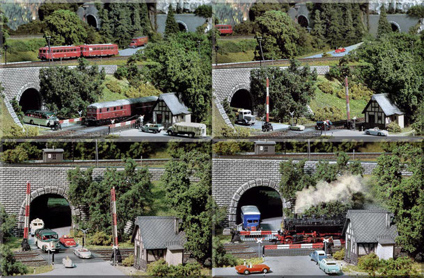 """Div. Betriebsszenen am zweigleisigen Bahnübergang. Der """"Büssing-Langholz-Laster"""" (Unterführung Bild 2), sowie  der """"MB + Kofferaufbau"""" (Hintergrund Bild 1) sind nachträglich verfeinerte Wiking-Modelle. Die übrigen Straßenfahrzeuge stammen von Marks."""