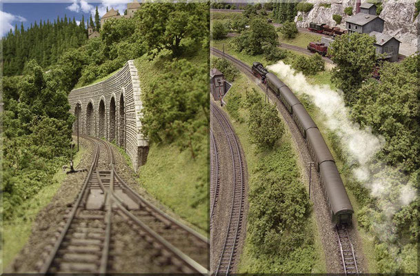 """Links: Die """"Kehrschleifen-Weiche"""" der Nebenstrecke, im rechten Anlagenschenkel. Rechts: Steigungsstrecke in Richtung - Stahlbogenbrücke, zum Überqueren der Hauptstrecke, in Richtung Nebenbahn-Endbahnhof """"Waldbronn""""."""