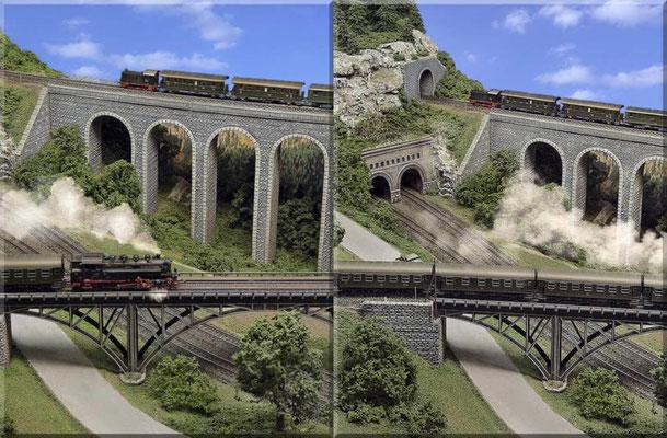 Viadukt (Eigenbau) und Stahlbogenbrücke (Faller-Bausatz) im Mittelteil des linken (kleineren) Anlagenschenkels.