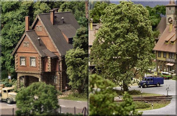 Links: Das Pfarrhaus, hier leben der katholische Gemeinde-Priester u. seine attraktive Haushälterin. Rechts: So filigran u. luftig sehen Großserien-Fertigbäume kaum aus. Der Eigenbau ist wirklich nicht sooo schwer und spart auch noch eine Menge Geld.