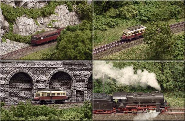 """Impressionen von der Nebenstrecke! Unten rechts: BR 56 20 von Fleischmann, kurz vor Einfahrt in den Bahnhof. Ich habe mich bemüht die Landschaft entlang der Strecke abwechslungsreich, aber doch mit einer """"durchgängigen"""" Optik/Farbgebung zu gestalten."""