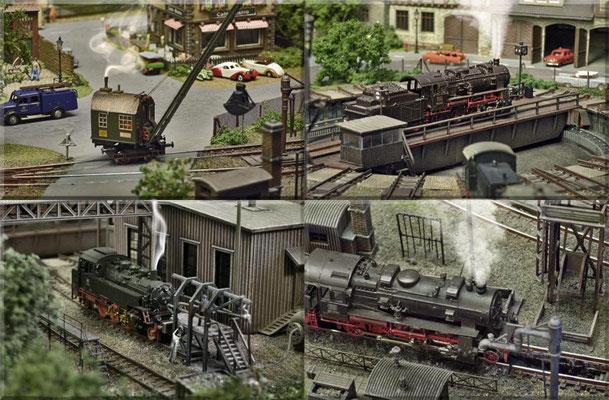 """Verschiedene Betriebsszenen aus dem Bereich des Modell-BW´s. Unten/links: die feine Arbeitsbühne von Detlev Beier-Modellbahnzubehör, das """"Rohrblasgerüst"""" ist ein Bausatz von Faller. Unten/rechts: Geländer und Schürhakengestell von Weinert-Modellbau."""