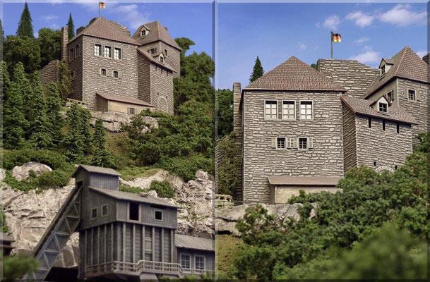 """Erhaben thront der Burgkomplex auf dem """"Großen Burgberg"""". Von dort lässt sich der Endbahnhof und die ganze Umgebung von Waldbronn überblicken."""