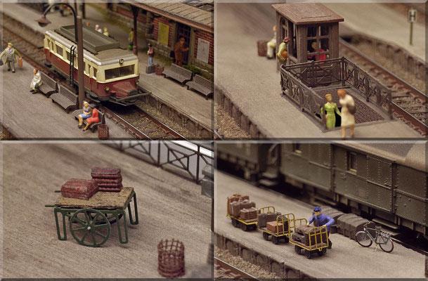 """Detailaufnahmen von den Bahnsteigen. Das """"Schweineschnäuzchen"""" ist ein Modell von Arnold. Geländer und Häuschen kommen von Marks. Der Hand-Gepäckkarren, E-Karren mit Gepäckanhängern und das Fahrrad - von Detlev Beier. Der Papierkorb ist ein Eigenbau."""