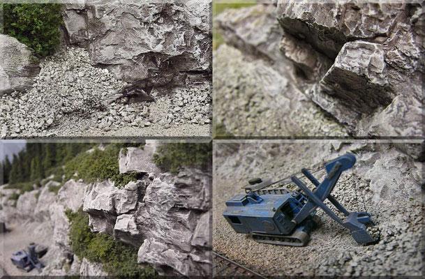 """Weitere Detailaufnahmen der Felsen im kleinen Steinbruch des """"Großen Burgberges"""". Für den mächtigen Menck-Bagger (ein Supermodell von Marks) ist es ein Leichtes den Abraum und das verwertbare Gestein zu schaufeln und in bereitstehende LKWs zu laden."""