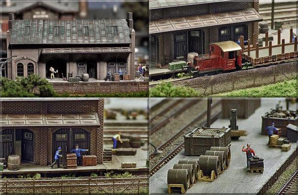 Güter, Güter und nochmal Güter. Verschiedene Szenen rund um die Faller Güterhalle. Der Maschendrahtzaun besteht aus 0,4 mm - Messingdraht und feinem Drahtgewebe.
