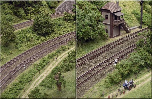 """Streckendetails. Großzügige Streckenführung - mit großen Radien u. elegant geschwungener Trasse - lassen sich ausschließlich mit """"Flex-Gleisen"""" realisieren. Mit den herstellerseitig gebotenen Stückgleisen (kurze Gerade u. enge Kurven) geht das nicht."""