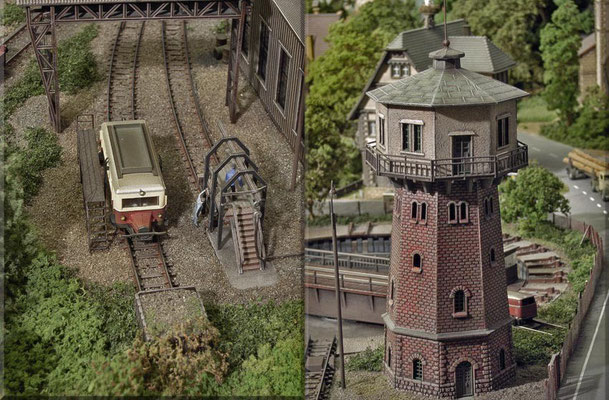 """Links: Das  schnuckelige """"Schweineschnäuzchen"""" an der Arbeitsbühne von D. Beier. Dahinter: Der Bockkran von Faller. Das Faller-Rohrblasgerüst werde ich noch gegen ein feineres Messing-Modell austauschen. Rechts: Noch einmal der Wasserturm von Pola."""