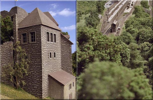 Wenn der Burgherr aus einem der drei Fenster - auf der Süd/West-Seite - seiner schönen Burg schaut, eröffnet sich ihm diese Aussicht (rechtes Bild) auf das Gleisfeld des Waldbronner Endbahnhofs.
