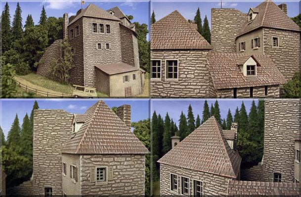 Detailaufnahmen vom Burgbausatz. Die Dächer sind Formteile aus einem Stück und haben deshalb keine Klebefugen. Im Innenhof sind die Wände verputzt.