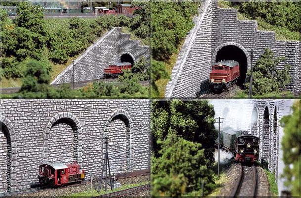 Oben: Ausfahrt des ETA 180 015 (Roco) aus dem Nebenbahn-Schattenbahnhof (liegt unter dem Endbahnhof). Unten: Köf II 323 673-4² und BR 98 812³ gleich nach  dem Abzweig von der Hauptstrecke. (²Arnold, ³Fleischmann).