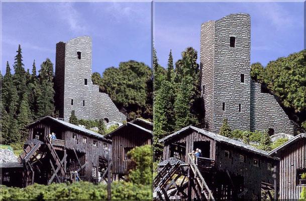 Blick von der Kohlemine hinauf zur Burgruine, die als Aussichtsturm ein beliebtes Ausflugsziel in der Umgebung von Waldbronn darstellt.