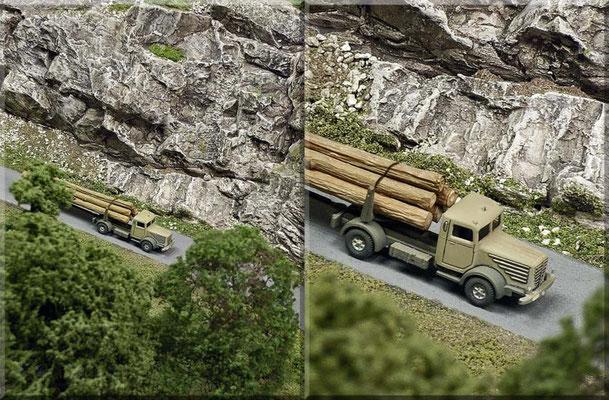 """Der """"Büssing 8000 Langholz"""" ist eines der nachträglich verfeinerten Wiking-Modelle. Vorbildnahe Bemalung, Entfernung des Plexiglas-Würfels aus Führerhaus, Einbau von Sitzbank, Lenkrad u. Fahrerfigur, sowie echtes Holz (kleine Zweige) stehen ihm gut."""