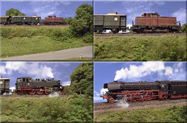 """Diverse Loks - aus der """"Bahndamm/Preiserlein-Perspektive"""".  Die große 41er, eine schwere/schnelle Güterzug-Lokomotive, hat sich nur ausnahmsweise auf die Nebenbahn verirrt. Die Lok wurde von 1937 bis 1941 gebaut und war immerhin bis 1986 in Betrieb."""