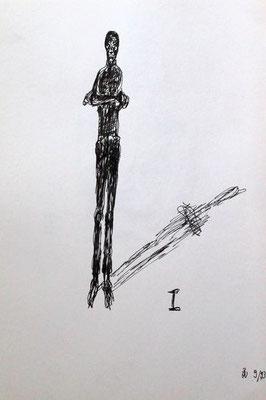 I, Tusche auf Papier, ca. 20 cm x 30 cm, 1993