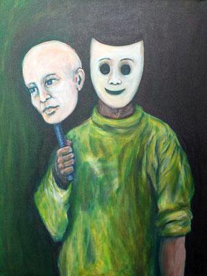 55 Mein wahres Gesicht, Acryl auf Leinwand, 60 cm x 80 cm, 2017 - 900 Euro