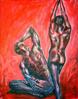"""Tanz des Lebens - rot"", Acryl auf Leinwand, 80 cm x 100 cm, 2016"