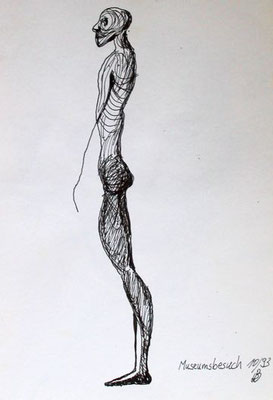 Museumsbesuch, Tusche auf Papier, ca. 20 cm x 30 cm, 1993
