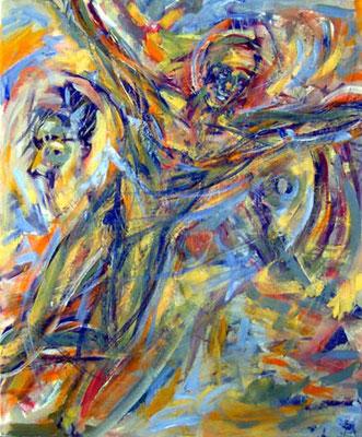 36 Ikarus' Traum, 50 x 60 cm, Gouache und Acryl auf Baumwolle, 2008 - 450 Euro